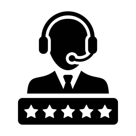 Technical support icon vector male customer support service person profile avatar with a headphone and a star rating for online assistant in glyph pictogram illustration Фото со стока - 133542159