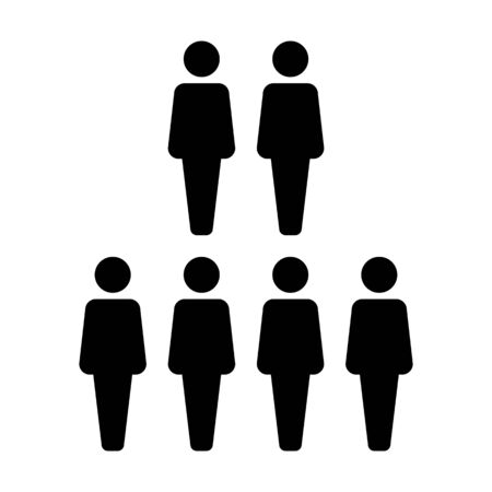 Social network icon vector male group of persons symbol avatar for business management team in flat color glyph pictogram illustration