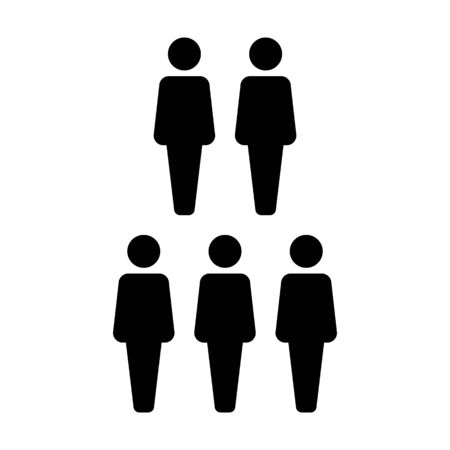 Leadership icon vector male group of persons symbol avatar for business management team in flat color glyph pictogram illustration