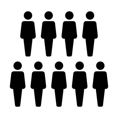 People icon vector male group of persons symbol avatar for business management team in flat color glyph pictogram illustration Фото со стока - 133542163