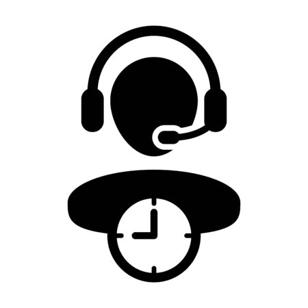 Business service icon vector with clock symbol and male customer care support person profile avatar with headphone for online assistant in glyph pictogram illustration