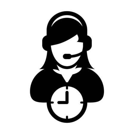Customer service icon vector clock symbol and female business support person profile avatar with headphone for online assistant in glyph pictogram illustration