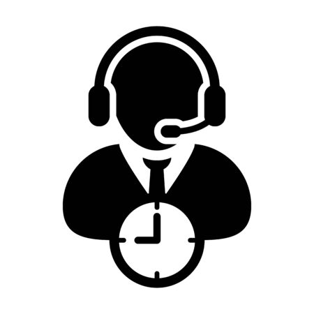 Customer service icon vector clock symbol and male business support person profile avatar with headphone for online assistant in glyph pictogram illustration