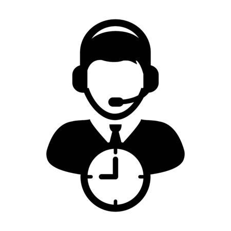 Support icon vector with clock symbol and male customer care support business service person profile avatar with headphone for online assistant in glyph pictogram illustration