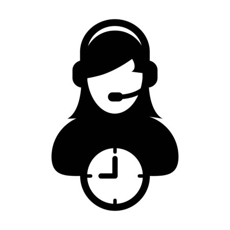 Customer support icon vector with clock symbol and female customer care business service person profile avatar with headphone for online assistant in glyph pictogram illustration