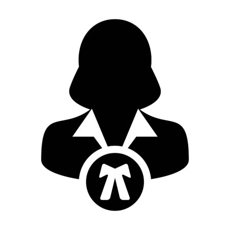 Justice icon vector female user person profile avatar symbol for law and justice in flat color glyph pictogram illustration