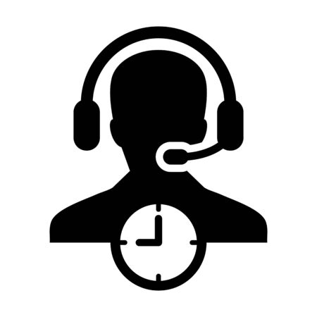 Customer care icon vector with clock symbol and male support business service person profile avatar with headphone for online assistant in glyph pictogram illustration