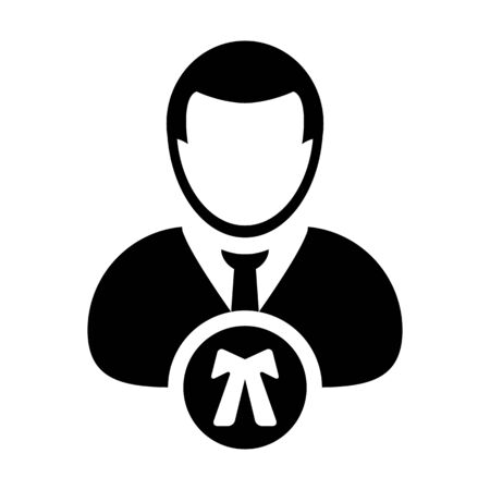 Advocate icon vector male user person profile avatar symbol for law and justice in flat color glyph pictogram illustration Иллюстрация