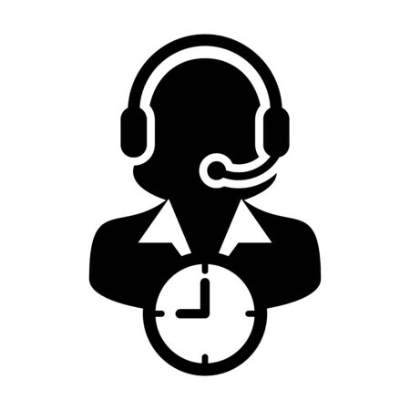 Call center icon vector with clock symbol and female customer care support business service person profile avatar with headphone for online assistant in glyph pictogram illustration