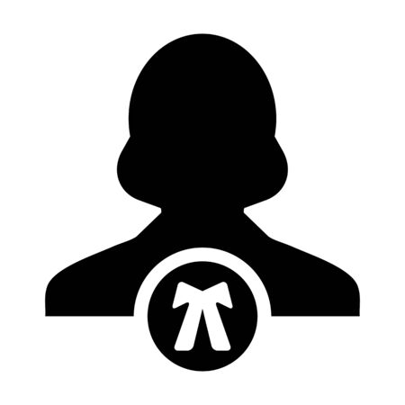 Law icon vector female user person profile avatar symbol for justice in flat color glyph pictogram illustration Иллюстрация