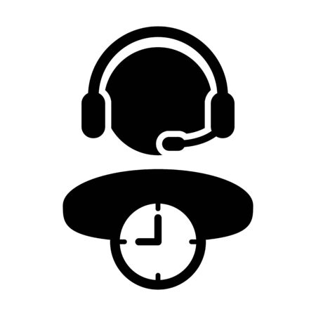 Service icon vector clock symbol and male business support person profile avatar with headphone for online assistant in glyph pictogram illustration