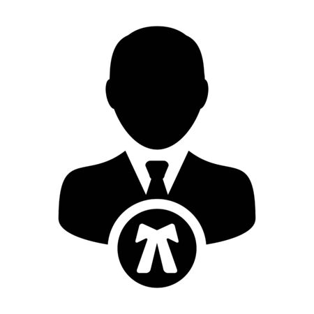 Justice icon vector male user person profile avatar symbol for law and justice in flat color glyph pictogram illustration Фото со стока - 133542186