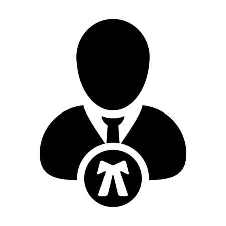 Counceling icon vector male user person profile avatar symbol for law and justice in flat color glyph pictogram illustration