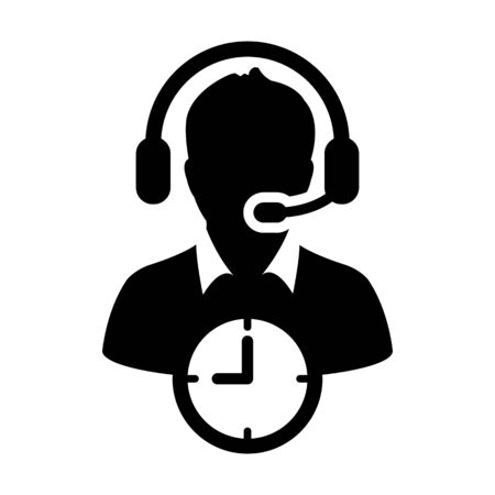 Customer helpline icon vector with clock symbol and male support business service person profile avatar with headphone for online assistant in glyph pictogram illustration