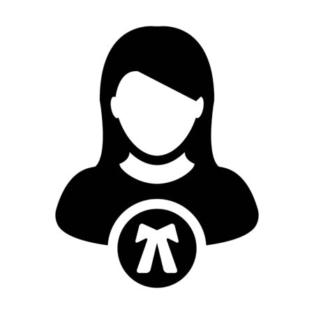 Lawyer icon vector female user person profile avatar symbol for law and justice in flat color glyph pictogram illustration Иллюстрация