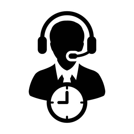Call center icon vector with clock symbol and male customer care support business service person profile avatar with headphone for online assistant in glyph pictogram  illustration Иллюстрация