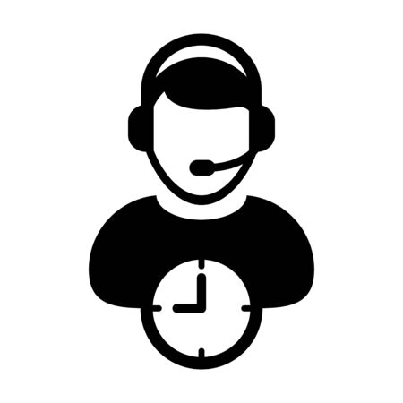 Customer care icon vector with clock symbol and male support business service person profile avatar with headphone for online assistant in glyph pictogram illustration Фото со стока - 132427085