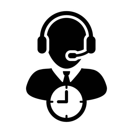 Assistant icon vector with clock symbol and male customer care support business service person profile avatar with headphone for online assistant in glyph pictogram illustration