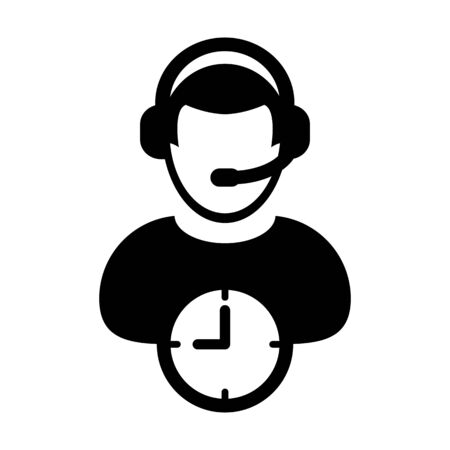 Customer service icon vector clock symbol and male business support person profile avatar with headphone for online assistant in glyph pictogram illustration Фото со стока - 133542188