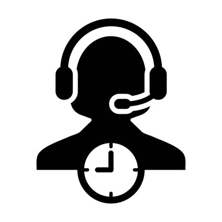 Support icon vector with clock symbol and female customer care support business service person profile avatar with headphone for online assistant in glyph pictogram illustration Фото со стока - 133542192