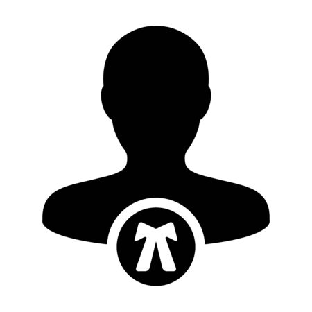 Legal icon vector male user person profile avatar symbol for law and justice in flat color glyph pictogram illustration