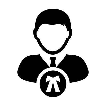 Lawyer icon vector male user person profile avatar symbol for law and justice in flat color glyph pictogram illustration Иллюстрация