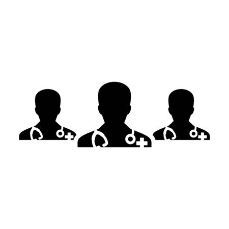 Doctor consultation icon vector group of male medical physician profile avatar for healthcare in a glyph pictogram illustration Иллюстрация