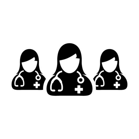Ask a doctor icon vector group of female physicians person profile avatar for medical and health consultation in a glyph pictogram illustration Иллюстрация
