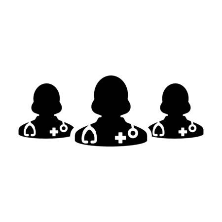 Healthcare icon vector group of female doctors person profile avatar for medical and health consultation in a glyph pictogram illustration Фото со стока - 133542199
