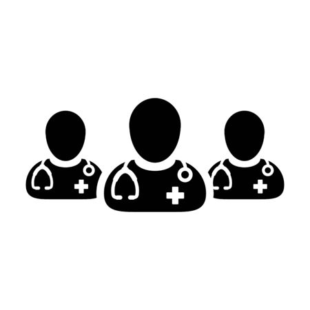 Ask a doctor icon vector group of male physicians person profile avatar for medical and health consultation in a glyph pictogram illustration