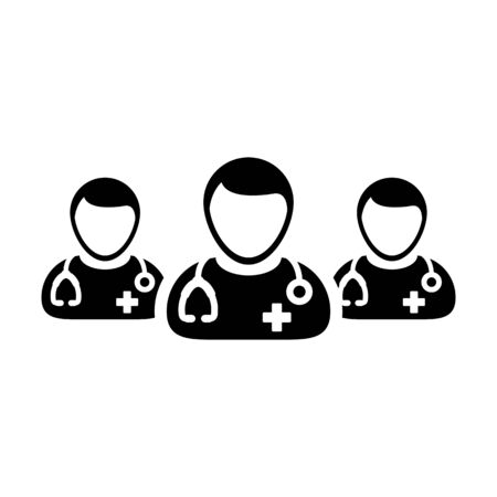 Nurse icon vector group of male medical specialist profile avatar for healthcare treatment in a glyph pictogram illustration Фото со стока - 133542202