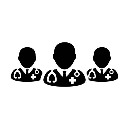 Hospital icon vector group of male doctors person profile avatar for medical and health consultation in a glyph pictogram illustration