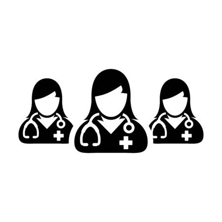 Doctor icon vector group of female physicians person profile avatar for medical and health consultation in a glyph pictogram illustration Фото со стока - 133542207
