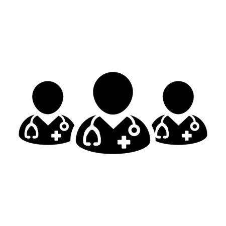Medical icon vector group of male doctors person profile avatar avatar for health consultation in a glyph pictogram illustration