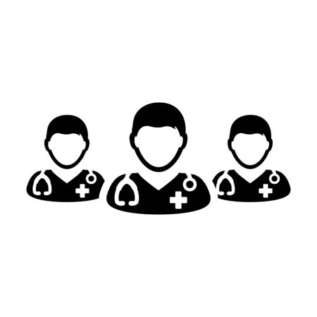 Doctor icon vector group of male physicians person profile avatar for medical and health consultation in a glyph pictogram illustration Фото со стока - 133542293