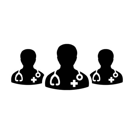 First aid icon vector group of doctors person male profile avatar for medical and health consultation in a glyph pictogram illustration
