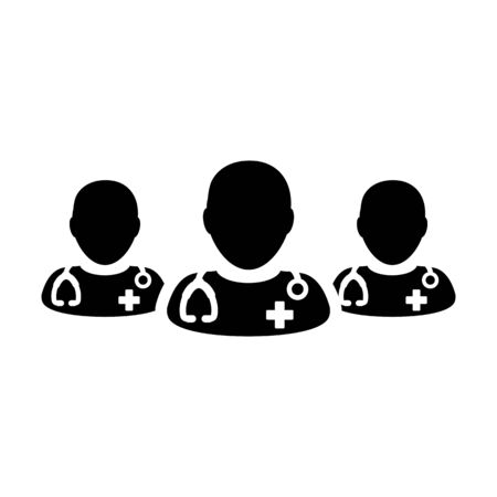Health consultation icon vector group of male doctors person profile avatar for medical and healthcare in a glyph pictogram illustration Фото со стока - 133542295