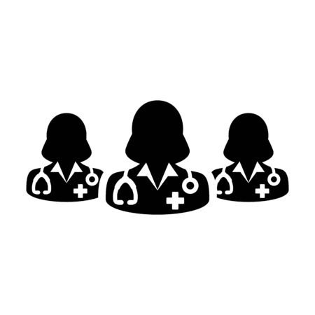 Medical icon vector group of female doctors person profile avatar avatar for health consultation in a glyph pictogram illustration Фото со стока - 133542303