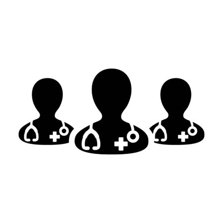 Health consultation icon vector group of male doctors person profile avatar for medical and healthcare in a glyph pictogram illustration Фото со стока - 133542299