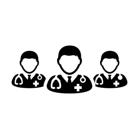 Nurse icon vector group of male medical specialist profile avatar for healthcare treatment in a glyph pictogram illustration