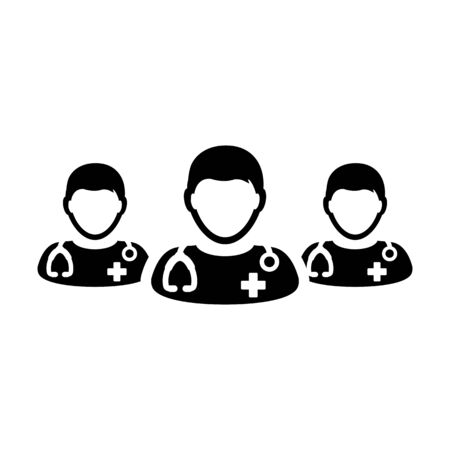 Physician icon vector group of male doctors person profile avatar for medical and health consultation in a glyph pictogram illustration Иллюстрация