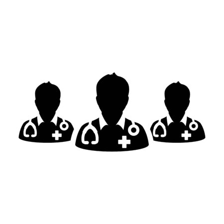 Health icon vector group of male doctors person profile avatar avatar for medical and health consultation in a glyph pictogram illustration
