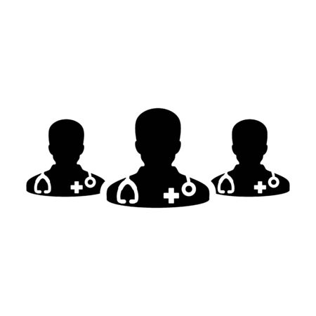 Healthcare icon vector group of male doctors person profile avatar for medical and health consultation in a glyph pictogram illustration