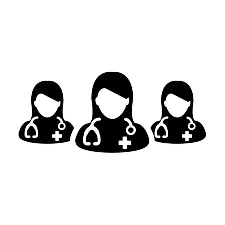 Hospital icon vector group of female doctors person profile avatar for medical and health consultation in a glyph pictogram illustration