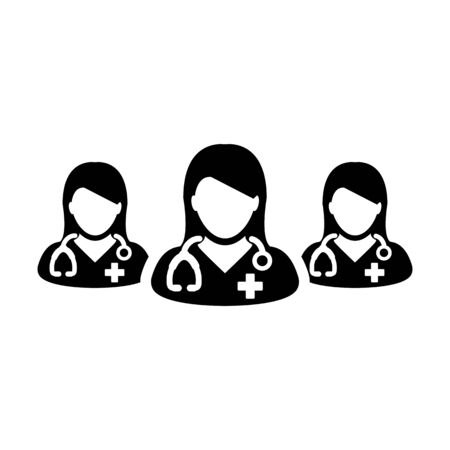 Doctor icon vector group of female physicians person profile avatar for medical and health consultation in a glyph pictogram illustration Иллюстрация