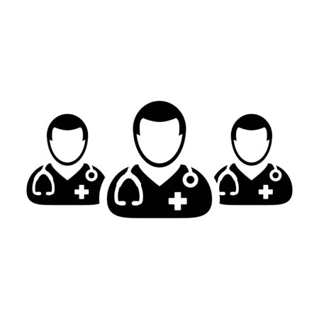 Doctor icon vector group of male physicians person profile avatar for medical and health consultation in a glyph pictogram illustration Иллюстрация