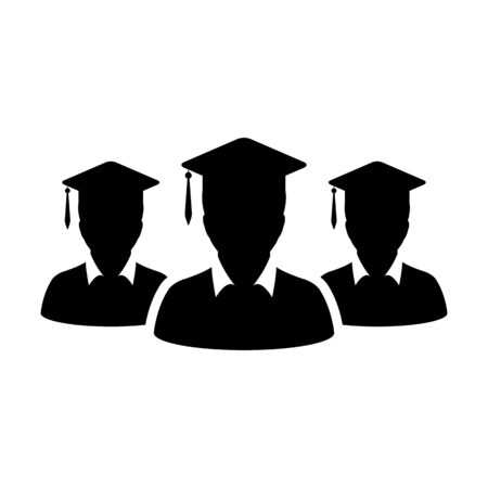Learning icon vector male group of students person profile avatar with mortar board hat symbol for school, college and university graduation degree in flat color glyph pictogram illustration