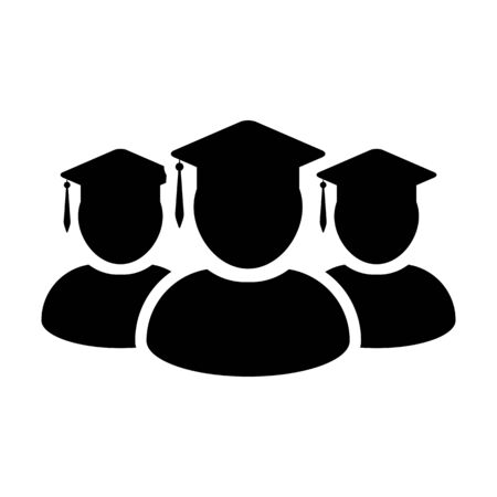 Student icon vector male group of person profile avatar with mortar board hat symbol for school, college and university graduation degree in flat color glyph pictogram illustration