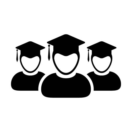 University icon vector male group of students person profile avatar with mortar board hat symbol for school and college graduation degree in flat color glyph pictogram illustration