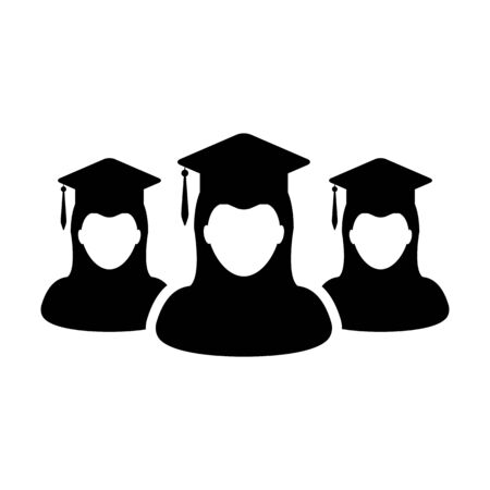 Diploma icon vector female group of students person profile avatar with mortar board hat symbol for school, college and university degree in flat color glyph pictogram illustration Иллюстрация